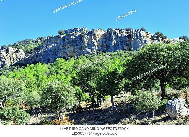 The Castle of Alpetea in the Alto Tajo Natural Park. Zaorejas town, Guadalajara province, Spain