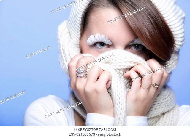 winter fashion woman warm clothing creative makeup