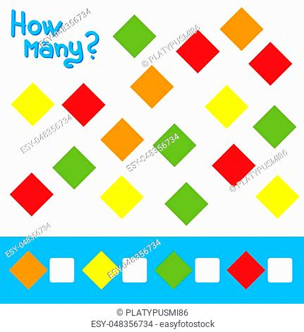 Game for preschool children. Count as many squares in the picture and write down the result. Bright colors. With a place for answers