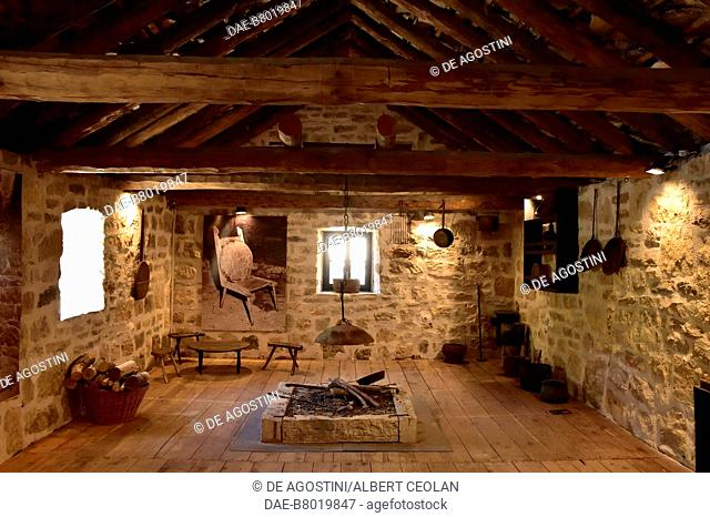 Room with a fireplace, traditional house, Roski Slap, Krka National Park, Croatia. Roski Slap, Ethnographic Museum of Krka National Park
