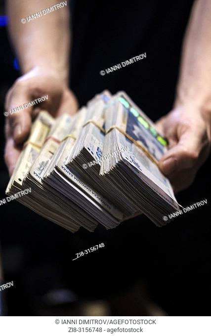 Corruption concept-dirty money,money hand-out,Bulgarian lev,Bulgarian currency