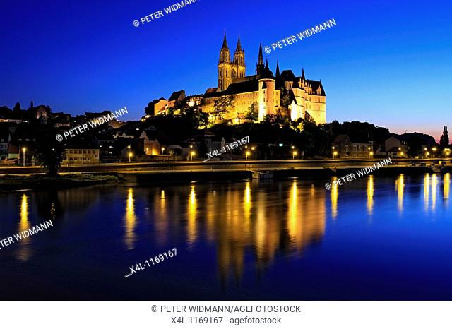The Albrechtsburg Castle in Meissen at Night, Elbe River, near Dresden, Saxony, Germany