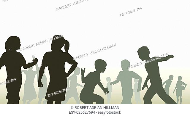 Editable vector illustration of children in a playground