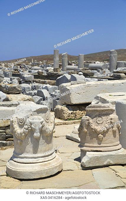 Bull Head Carvings on Sacred Way, Delos Island, UNESCO World Heritage Site, Cyclades Group, Greece