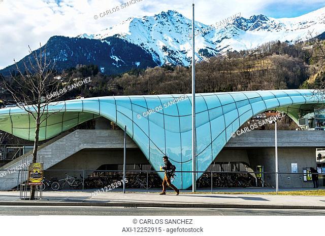 Hungerburgbahn, hybrid funicular railway, Loewenhaus station by Zaha Hadid; Innsbruck, Tyrol, Austria