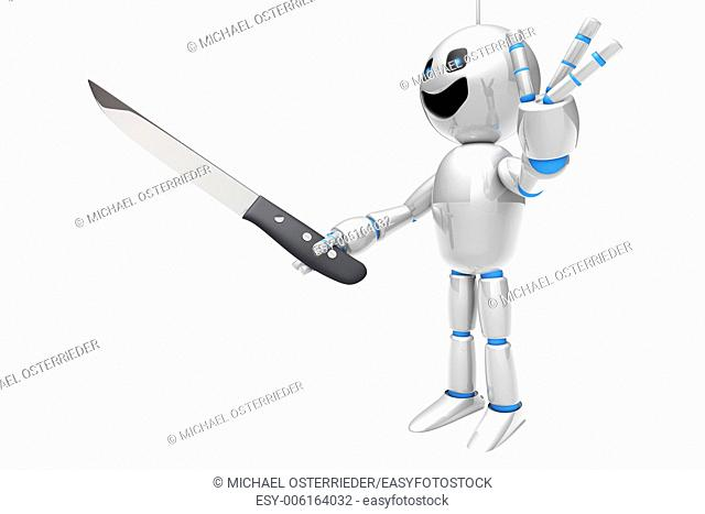 A cartoon Robot holding a kitchen Knife. 3D rendered Illustration