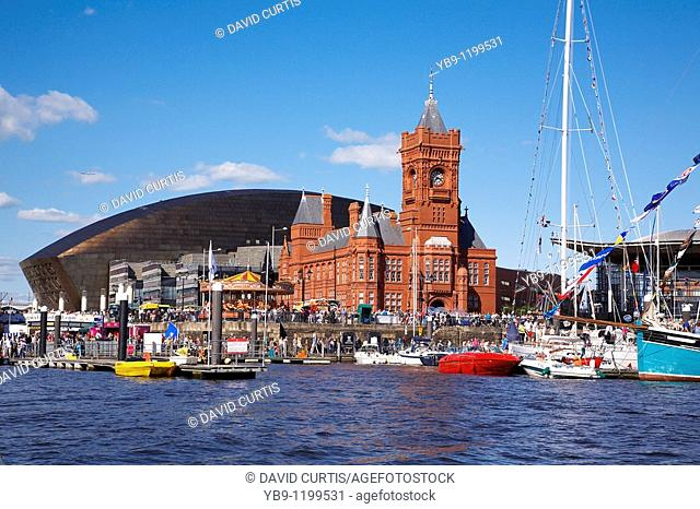 Mermaid quay with the Pierhead building and Millenium centre at Cardiff Bay South Wales