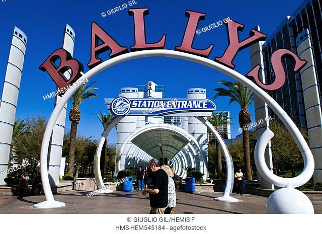 United Statess, Nevada, Las Vegas, Ballys casino hotel view since the Strip, Las Vegas Boulevard
