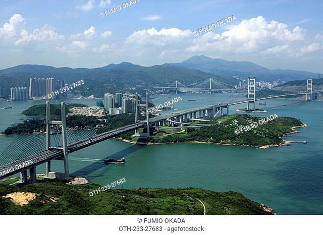 Aerial view overlooking Tsing Ma Bridge and Park Island, Hong Kong