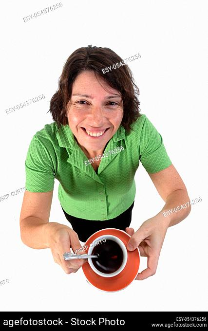 woman with a cup of coffee on white background