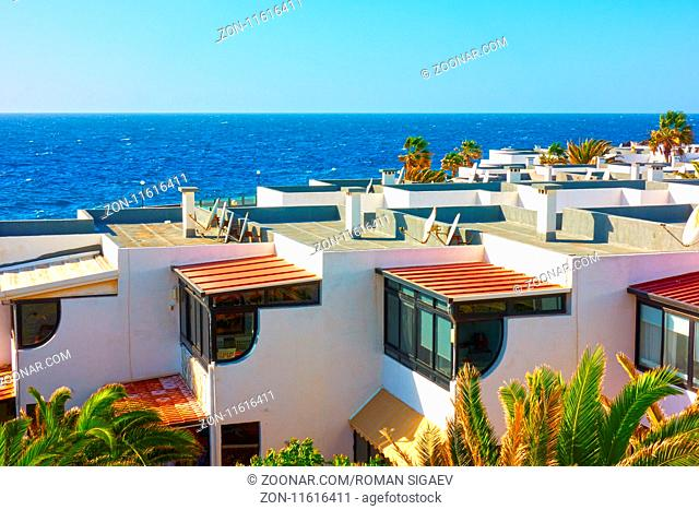 White houses with terraces in residential area at a sea resort