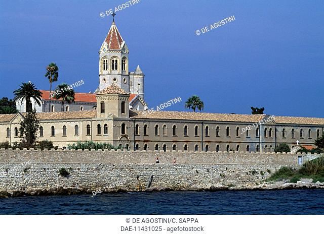 View of the modern monastery, 19th century, Lerins abbey, Saint Honorat island, Provence-Alpes-Cote d'Azur, France
