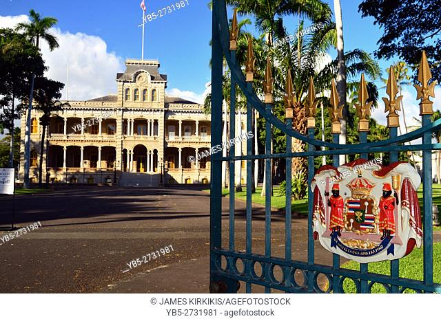 Open Gates Lead to Iolani Palace, the only Royal Palace in the United States