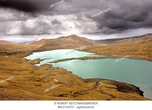 Lagoon with the Andes Mountains, Tuni, La Paz, Bolivia, South America