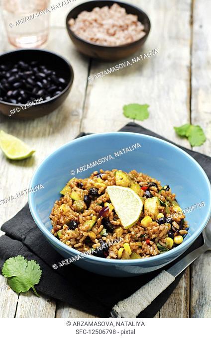 Black beans pepper cilantro zucchini lime brown rice