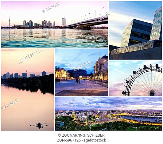Collage with famous places landmarks of Vienna