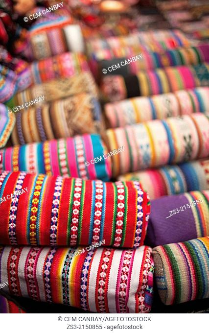 Close-up shot of bags at the open-air market in Pisaq, Sacred Valley, Cuzco Region, Peru, South America