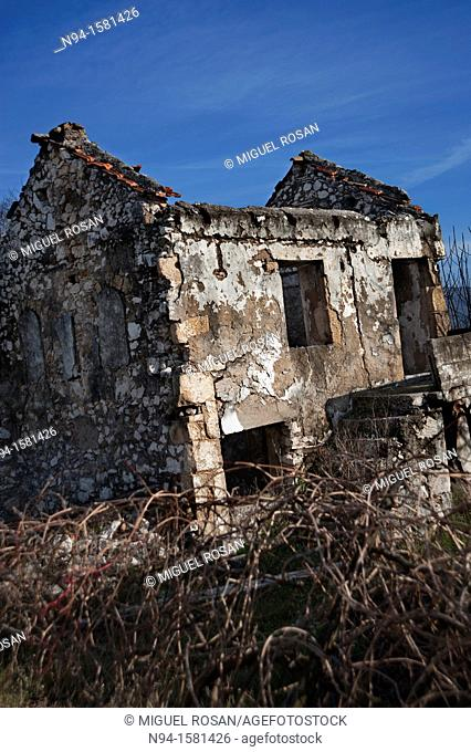 Ruins of a house in a town of Mostar, destroyed in the war in Bosnia