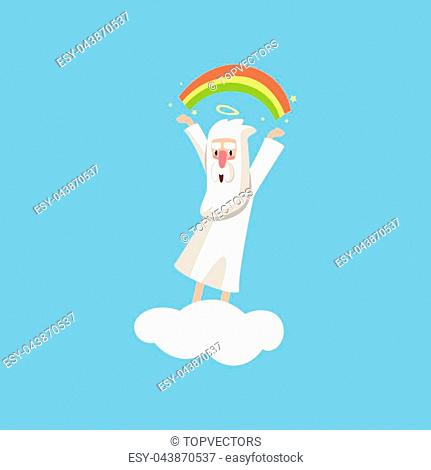 Creator cartoon character in action on white cloud. Smiling god creating a rainbow. Heaven working days. Almighty bearded man