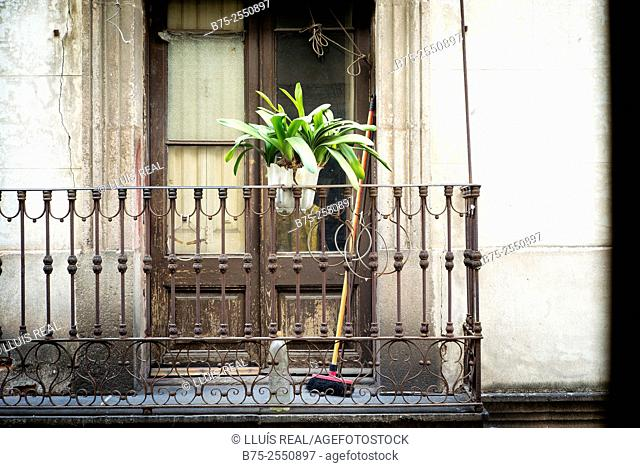 Balcony with a lower plant and a broom from a house in old town in Barcelona, Spain, Europe