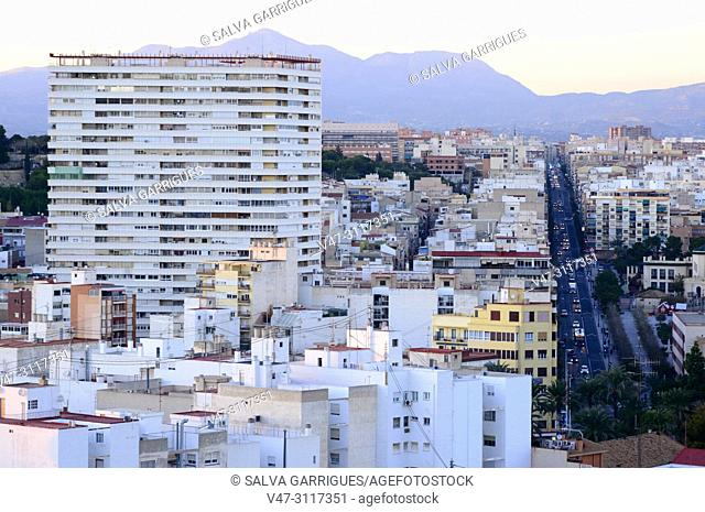 View of the modern city Alicante, Valencia, Spain