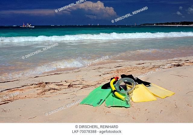 Fins and mask on the beach , Punta Cana, Caribbean, Dominican Republic