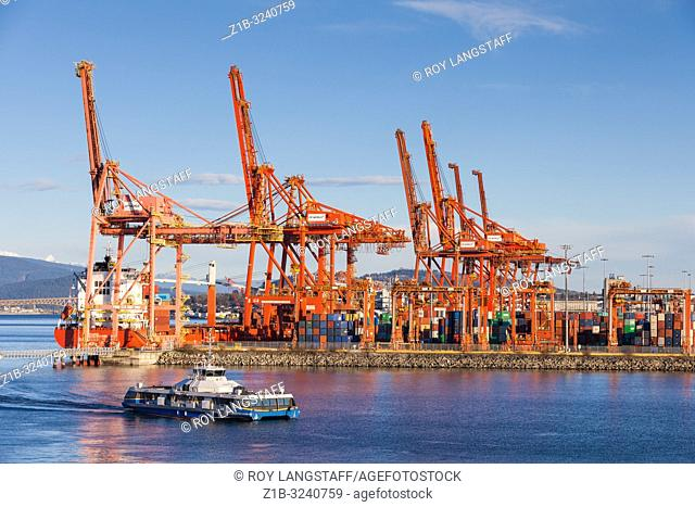 View of the Vancouver container port close to downtown