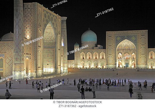 Uzbekistan, Samarkand, Registan, Ulug Beg, Tilya Kori, Tilla Kari, madrasahs,