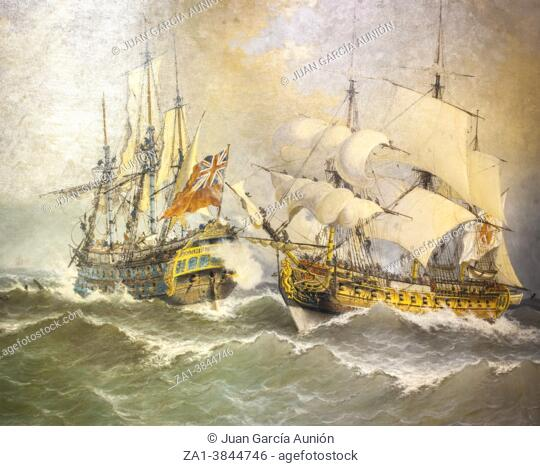 Naval Combat between Spanish frigate and the British ship Stanhope. Painted by Angel Cortellini Sanchez in 1910. Museo Naval de Madrid, Spain