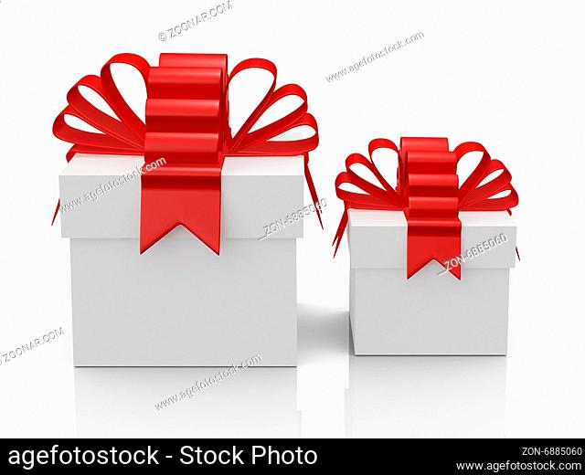 Two white gift boxes with red ribbon, front view, isolated on white background