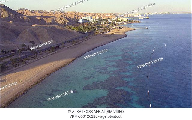Aerial footage of the Coral reef in the Red Sea , Eilat