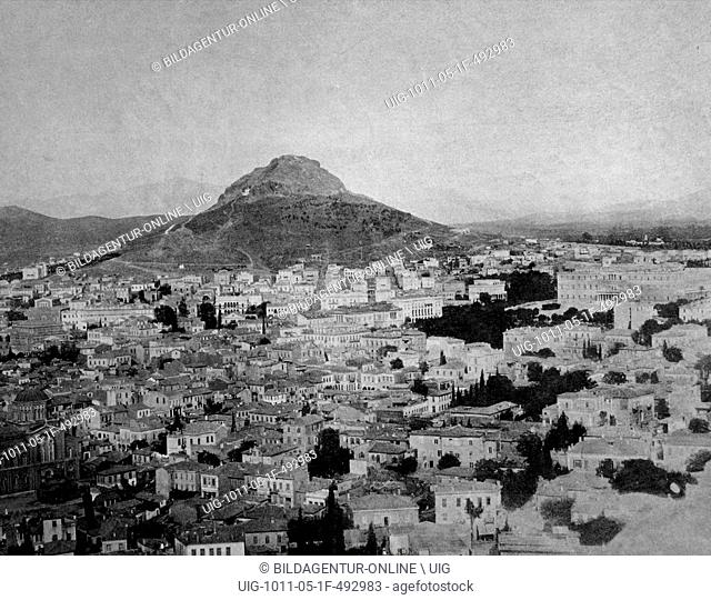 Early autotype of athens, greece, historical photograph, 1884