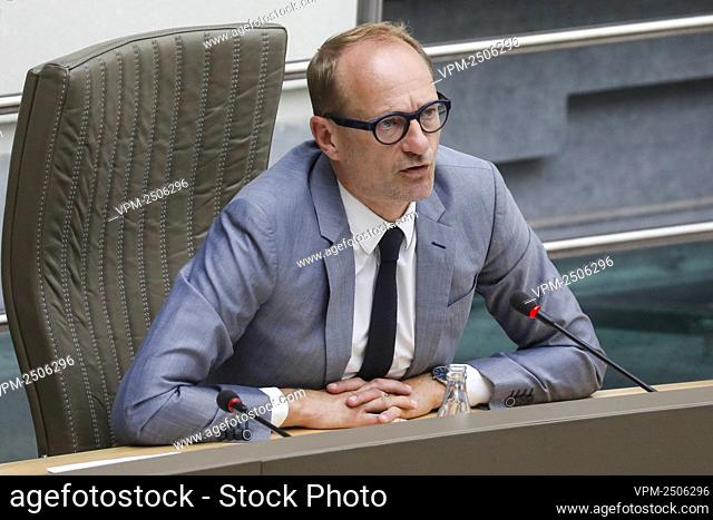 Flemish Minister of Education and Animal Welfare and Sports Ben Weyts pictured during a plenary session of the Flemish Parliament in Brussels