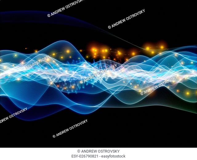 Digital Stream series. Interplay of sine waves and lights on the subject of science, technology and education