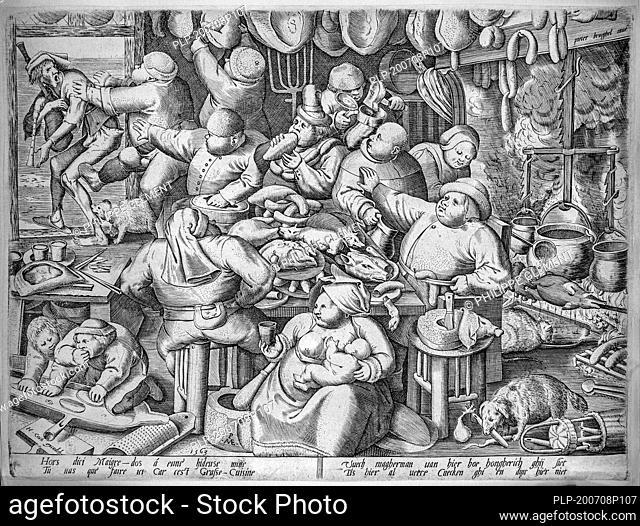 The Fat Kitchen, 1563 engraving by Pieter van der Heyden after Pieter Bruegel the Elder, Dutch and Flemish Renaissance painter and printmaker