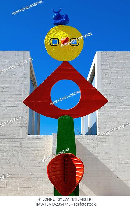 Spain, Catalonia, Barcelona, Montjuic, Placa de Neptu, the Fundacio Joan Miro by architect Josep Lluis Sert, one of Miro 's work on the terrace