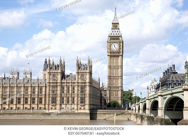 Big Ben and the Houses of Parliament with the River Thames, London, England, UK