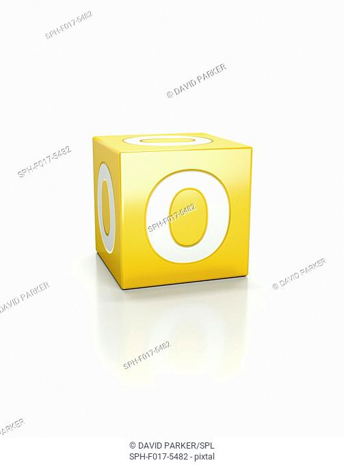Yellow cube with letter O