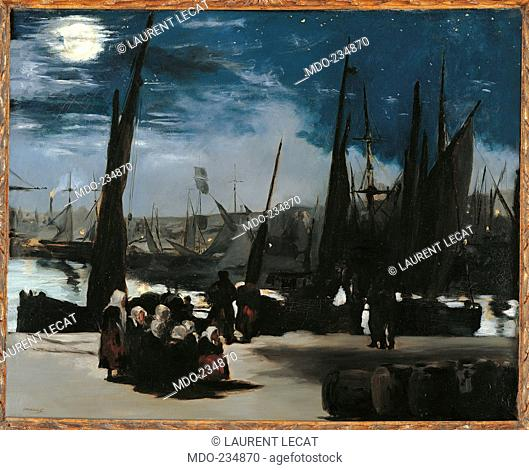 Moonlight over the Port of Boulogne, by Edouard Manet, 1869, 19th Century, oil on canvas, cm 82 x 101. France, Ile de France, Paris, Muse dOrsay, RF1993