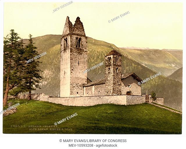 Celerina, Old Roman Church of St. Gian, Aargau, Switzerland. Date between ca. 1890 and ca. 1900