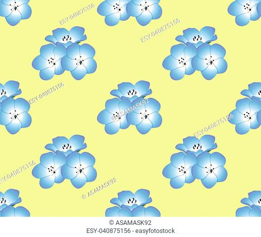 Nemophila Baby Blue Eyes Flower on Yellow Background. Vector Illustration