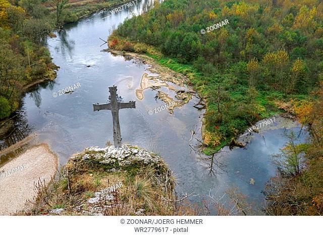 Upper Danube valley and summit cross, Rechtenstein, Germany