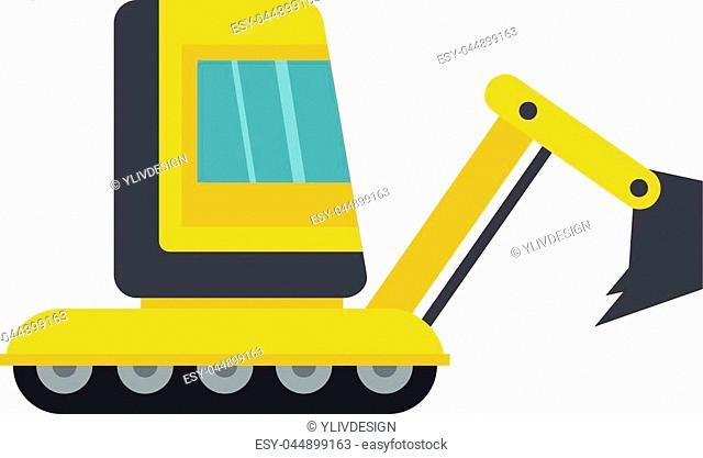 Yellow mini excavator icon flat isolated on white background vector illustration