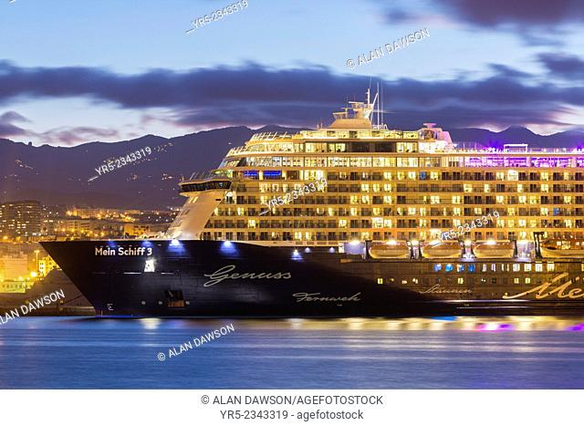 Eco friendly cruise ship, Mein Schiff 3, owned by Tui Cruises, makes its first visit to Las Palmas, the capital of Gran Canaria, Canary Islands, Spain