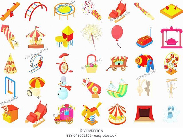 Kid amusement icon set. Cartoon set of kid amusement vector icons for web design isolated on white background