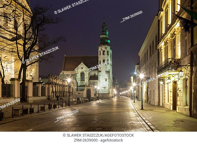 Night on Grodzka street in Krakow old town, Malopolska, Poland. UNESCO world heritage site