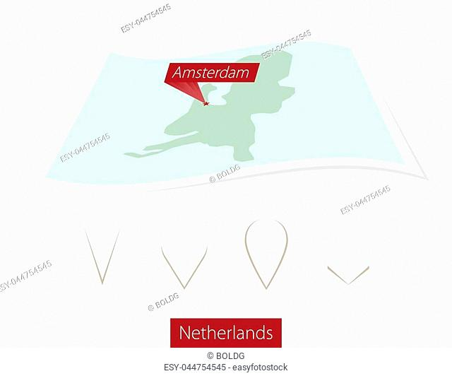 Curved paper map of Netherlands with capital Amsterdam on Gray Background. Four different Map pin set. Vector Illustration