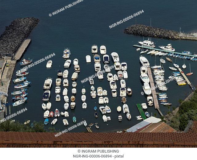 Elevated view of boats at harbor, Amalfi Coast, Salerno, Campania, Italy