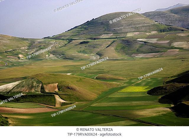 Italy, Umbria , Castelluccio di Norcia, Monti Sibillini National park