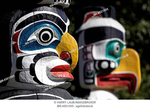 Totem poles in Stanley Park, Vancouver, British Columbia Province, Canada